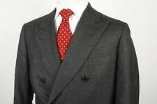 Oxxford Clothes Double Breasted Sport Coat / Jacket Size 42R Charcoal Gray
