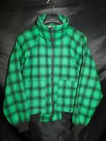 Vintage LL Bean M L Mens Green Black Plaid Wool Coat Full Zip Waist USA Made