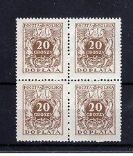 POLAND 1924  Fi D71II; ZL. 600,-  DOPLATA BLOCK OF 4 SIZE 19,5 x 24,5  MNH **