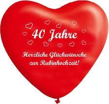 10 rote Herzballons Rubinhochzeit, ca. 30 cm