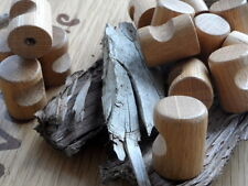 "2 small wooden wood kitchen door knobs handles drawers cabinets oak 0.87"" 22 mm"