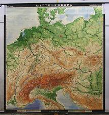 Schulwandkarte Wandkarte Mitteleuropa Deutschland 194x209c 1969 vinage chart map