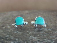 Zuni Indian Jewelry Sterling Silver Turquoise Turtle Post Earrings! by Slow