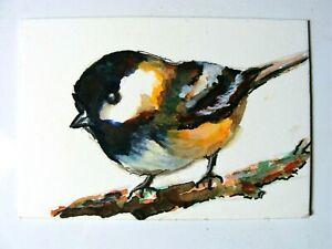 Original painting ACEO art card ATC 2.5 x 3.5 BIRD Chickadee tarrantts-art