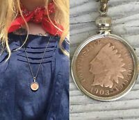 Antique Chief head penny Necklace Vtg Chief coin pendant Men's jewelry old