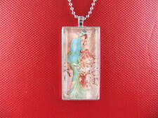 MUCHA / WINTER 1896 ART GLASS TILE PENDANT / NECKLACE