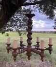 """Antique Barley Twist Oak Chandelier - from Belgium - 23.5"""" W X 24"""" L"""