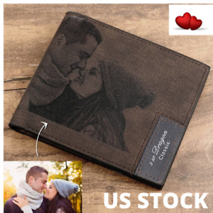 Custom Picture Men Wallet  Photo Words Engraved Valentine's Gift US Stock