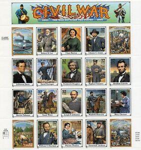 1995 USPS Civil War (20) .32c Full Sheet  Scott #2975 ~ Mint