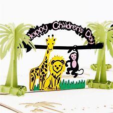3D Pop Up Greeting Cards Lion Monkey Birthday Children's Day Thank Gift Postcard