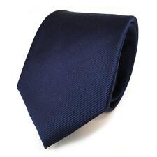 TigerTie Seidenkrawatte Uni Rips Marine Blau Dunkelblau - Krawatte 100 % Seide