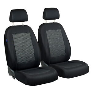 CAR SEAT COVERS FOR RENAULT FLUENCE FRONT SEATS BLACK GREY TRIANGLES