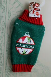 Pet Ugly Sweaters  Red & Green Winter Christmas Happy Sweater Size XS S L