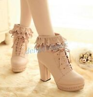 Womens Lace Up Retro Cosplay Fashion Ankle Boots Platform High Block Heels Shoes