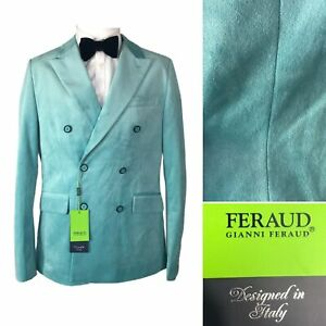 Gianni Feraud Wogan Velvet Tuxedo Smoking Dinner Jacket Sz 40 Green Suit Blazer