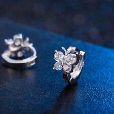 Ear Stud Hoop Earrings New Women's Crystal Silver Plated Butterfly