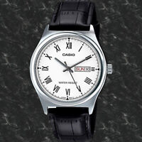 Casio MTP-V006L-7B Mens Analog Silver Tone Watch Black Leather Band Day Date New