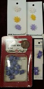 Vintage Colorful Button Lot ~ Spring Flowers ~ Bunny Rabbit ~ Purple Star Beads