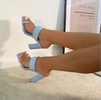 Women's Party High Block Heels Rome Mule Sandals Casual Slip On Slim Slippers