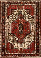 Excellent Vintage Hamedan Ivory Hand-Knotted Area Rug Oriental Tribal Carpet 4x6