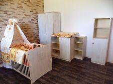 bébé Zimmer Enfants Meuble Armoire Commode set de lit 5 Étagère blanc-gris