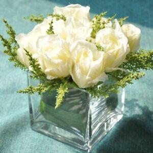 Artificial Flower Transparent Vase Glass Crystal Tabletop Jar For Home Decor New