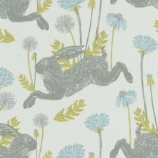 CLARKE and CLARKE(STUDIO G) 100% COTTON CURTAIN FABRIC/CRAFT MARCH HARE Mineral