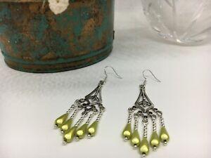 Tibetan Silver Dangle Earrings Pistachio Green Tear Drops Filigree SS Ear Wires