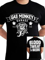 Gas Monkey Garage Blood Sweat and Beers Fast Loud Licensed Black Mens T-shirt