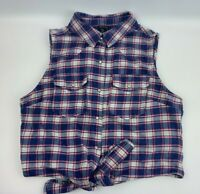 Women's Forever 21 Top Size M Shirt Casual Snap Button Up Blue Pink Plaid F21