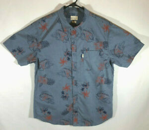 Walker Refinery Button Up Shirt -Surfer - Hawaiian - Camp - Size Large - Blue