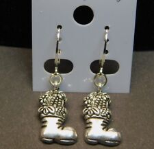Christmas Stocking Hat Dangle Earrings on Silver Plate Lever Back Findings