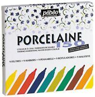 Pebeo Porcelaine 150 Permanent Ceramic Paint Marker Set of 9 Colours 1.2 Nib