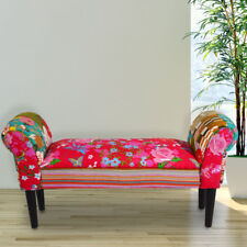 Design Patchwork Textile Seat Bench Hall Pads Furniture Wood Feet 102 cm long