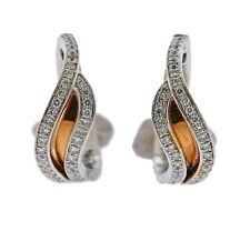 New Chimento 18k Two Tone Gold Diamond Wave Hoop Earrings