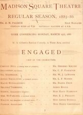 *BOOTH FAMILY: AGNES BOOTH RARE 1886 PROGRAM WITH IMAGES W S GILBERT'S ENGAGED*