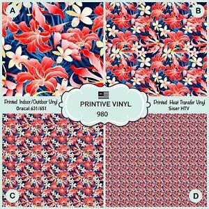 Tropical Flower Patterned HTV, Printed Vinyl, Iron on Vinyl, Adhesive Vinyl 980