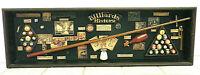 BILLIARDS HISTORY SHADOXBOX DISPLAY PIECE GAME ROOM MAN CAVE ART POOL SPORTS VTG