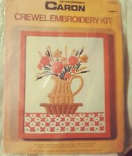 """New listing Caron Crewel Embroidery Kit Pitcher Of Flowers Vtg 1975~ New #6088 - 8X10"""""""