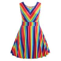 Women's Plus Size Bright Rainbow Print Sleeveless A-Line Camis Mini Dress NEW