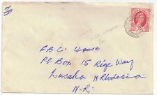 Rhodesia & Nyasaland 1954 Cover 3d czrmine-red sg 4 MTOR OSHANGA 6 Oct 57