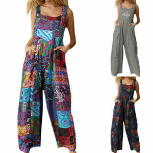 Summer Women's Floral Boho Jumpsuit Overall Ladies Casual Baggy Romper Playsuit