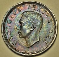 1951 SOUTH AFRICA 6 PENCE SILVER COLOR GEM TONED BU UNC STUNNING CHOICE (DR)