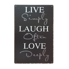 Metal Tin Sign Wall Plaque Bar Pub Cafe Decorative Plate Live Laugh Love