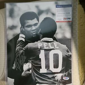Muhammad Ali w/ Pele Autographed 10x1 Photo Signed PSA/DNA COA