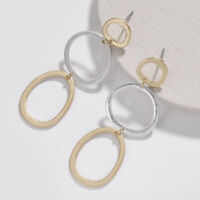 2018 New Two Tone Geometric Circle Statement Dangle Earrings Fashion Jewelry