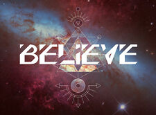 QUOTE BELIEVE ALIEN SPACE GRAPHIC WORD POSTER WALL ART PRINT PICTURE  LF2965
