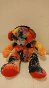 "Russ Berrie Trixter Plush Beanie Bear 7"" Sitting Orange Black yellow no tag"