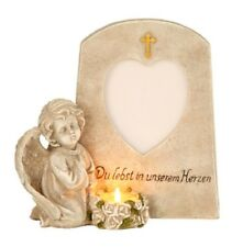 Grabschmuck Engel mit Foto Aufschrift und Teelichthalter Trauerstein im Herzen