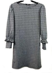 Mango Basics Black and White Houndstooth Long Sleeve Shift Dress - UK Size 8